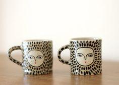 Leopard espresso cups  Ceramic one of a kind by KinskaShop on Etsy, £36.00 #mug #ceramic