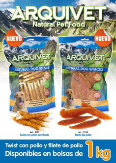 Snacks naturales para perro en formato de 1 kilo. Twist de pollo y filete de pollo. Arquivet Natural Pet Food