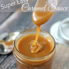 Super Easy Caramel Sauce – Only 3 ingredients! Great for dipping fruit at your s… Super Easy Caramel Sauce – Only 3 ingredients! Great for dipping fruit at your super bowl party. Just Desserts, Delicious Desserts, Yummy Food, Dessert Sauces, Dessert Recipes, Cupcake Filling Recipes, Caramel Recipes, Homemade Caramel Sauce, Salted Caramel Sauce