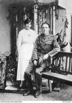 Studio portrait of Captain (Capt) Henry Garnet Forrest (born 1895) and his wife Cora on their wedding day. Capt Forrest served with No 2 Squadron AFC, and was awarded the Distinguished Flying Cross.