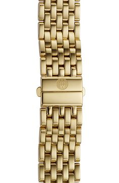 MICHELE 'Deco' 16mm Gold Plated Bracelet Watch Band available at #Nordstrom