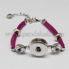 Pelle scamosciata del faux scatto stoffa braccialettoBJEW-R175-07-1