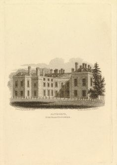 View of Althorpe House, with trees behind fence at right; grassy area lined with bollards in foreground; illustration to Cole's 'Residences ...