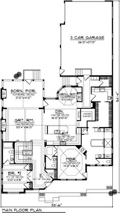 First Floor Plan of Ranch   House Plan 72997 - I like a lot of things about this but would need a basement for a media room and extra bedrooms. Would also need to put a hot tub in the screened porch. Beamwork would need to be more rustic.