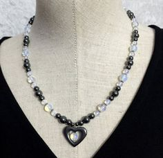 Hematite and Opalite Beaded Necklace with by VelvetCurtainDesigns