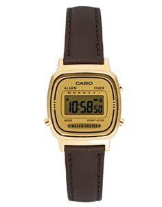 Vergrößern Casio – Digitaluhr mit braunem Lederarmband, LA670WEGL-9EF
