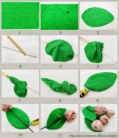 ARTESANATO COM QUIANE - Paps,Moldes,E.V.A,Feltro,Costuras,Fofuchas 3D: Pap Tulipa de tecido fechadinha