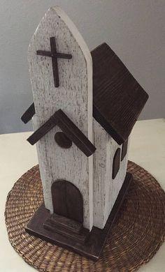 Church Birdhouse Primitive Wooden Birdhouse Handmade Home