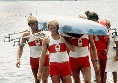 Phil Monckton et Brian Dick du Canada participent à l'épreuve du quatre d'aviron aux Jeux olympiques de Montréal de 1976. (Photo PC/AOC)