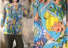 Pop art sheer blouse/Loose colorful long shirt/Unisex blouse/Roy Lichtenstein alike pattern/Pop Culture/Andy warhol style/Novelty shirt by Stralixa on Etsy