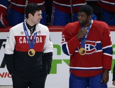 Carey price and p.k subban, gold winner Montreal Canadiens, Mtl Canadiens, Hot Hockey Players, Nhl Players, Hockey Teams, Hockey Stuff, Hockey Rules, Club, Sports
