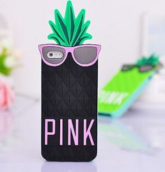 iPhone 6, 6 Plus, 5/5S, 4/4S - Funky 3D Pineapple with Cool Shades Soft Case in Assorted Colors