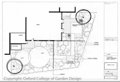 Courtyard garden plan with patio, terrace and small lawn Landscape Design Plans, Garden Planning, Garden Landscaping, Planer, Garden Design, Floor Plans, Patio, How To Plan, Architecture