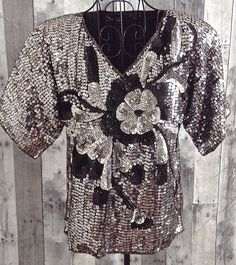 Jewel Queen 100% Silk Sequin Beaded Top Blouse Sparkle Fully Lined Size Small #JewelQueen #Top