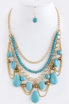 FAUX TURQUOISE CHAIN TIERED NECKLACE SET