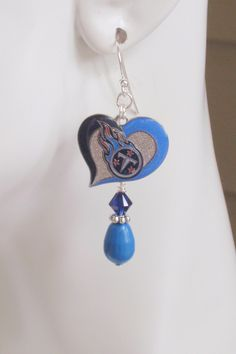 Tennessee Titans I Love The Way You Play Blue Swarovski Pearl and Navy Crystal Dangle Earrings by scbeachbling on Etsy