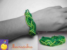 #Macrame Pulsera de ondas verdes