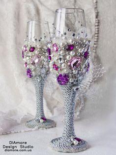 SALE rhinestones / Wedding glasses / purple and от DiAmoreDS Wedding Champagne Flutes, Wedding Glasses, Champagne Glasses, Our Wedding, Dream Wedding, Unique Wedding Gifts, Elegant Wedding, Wedding Trends, Wedding Ideas