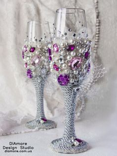 rhinestones / Wedding glasses /  purple and white wedding on Etsy, $73.55
