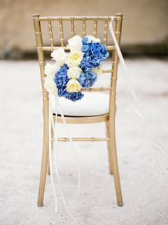 Blue and white floral design on a chiavari chair | Branco Prata Photography | http://burnettsboards.com/2014/01/inspired-portuguese-tiles/