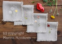 hand embroidered napkins - Google Search