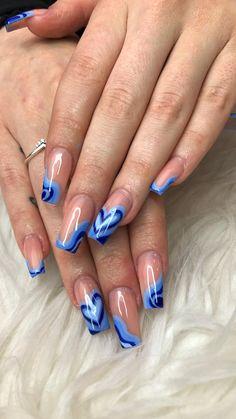 Short Square Acrylic Nails, Blue Acrylic Nails, Acrylic Nails Coffin Short, Simple Acrylic Nails, Acrylic Nail Designs, Funky Nails, Trendy Nails, Glow Nails, Fire Nails