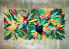 the mural replicates the lush and diverse assortment of botanical and animal life found in a rainforest environment. The post mlle hipolyte recreates a tropical jungle with hand-cut paper pieces appeared first on designboom 3d Paper Art, 3d Paper Crafts, Paper Artist, Art 3d, Deco Jungle, Jungle Art, Jungle Scene, Paper Cutting, Cut Paper
