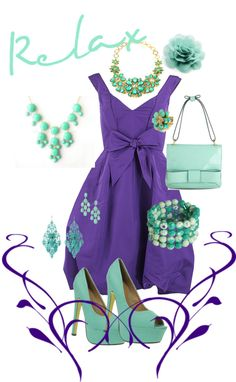 """purple dress with Mint shoes and accessories. love it!!!"" by becka-spencer-lapp-webber on Polyvore"