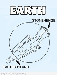 funny cartoon comic stonehenge toes easter island head body in Earth