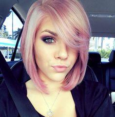 Pastel pink hair #pinkhair #beauty #greeneyes