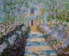 Walkway to Monet's house  acrylic painting by Sharon Amer