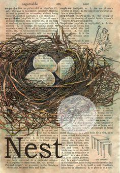 Nest - Mixed Media Drawing on Distressed Parchment x -flying shoes art… Book Page Art, Book Art, Art Altéré, Newspaper Art, Dictionary Art, Bird Drawings, Art Graphique, Medium Art, Art Techniques