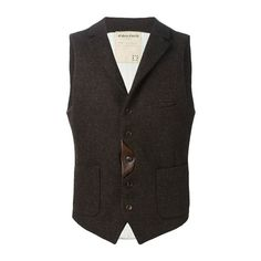 Al Duca d' Aosta 1902 Single Breasted Waistcoat (10.010 RUB) ❤ liked on Polyvore featuring men's fashion, men's clothing, men's outerwear, men's vests, brown and mens brown vest