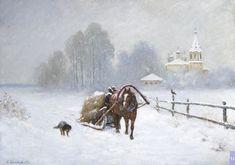 Лошади, Зима, На Открытом Воздухе, Картины, Снег, Живописные Пейзажи, Художественная Роспись, Художники