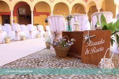 Decoración de ceremonia civil en estilo rústico con pinceladas marineras. Rustic wedding with some navy details.