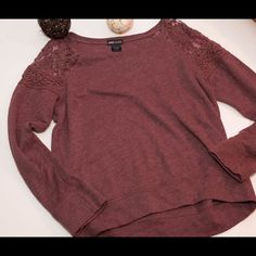 Jersey sweater top Plum- burgundy colored jersey sweater with lace shoulders- ️SUPER cute on! Worn gently!! Sweaters Crew & Scoop Necks