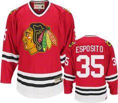 Chicago Blackhawks Tony Esposito 35 Red Authentic Jersey Sale