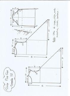 Esquema de modelagem de Túnica Plus Size tamanho 58.