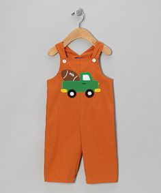 Take a look at this Orange Car Football Overalls - Infant & Toddler by Cotton Blu & Cotton Pink on #zulily today!