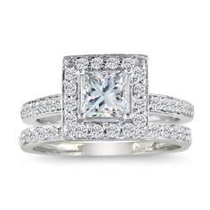 Princess Cut 1ct Diamond Bridal Set in 14k White Gold
