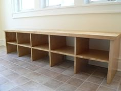 Long custom-made bench on tile floor - EASY SHOE BENCH