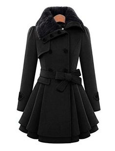 Women's Fashion Faux Fur Lapel Double-breasted Thick Wool Trench Coat Jacket(US:XS / Asia M, Black) *** See this great image @