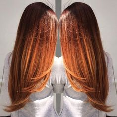long copper ombre Copper Ombre, Copper Hair, Auburn Balayage, Balayage Hair, Hair Color And Cut, Ombre Hair Color, Red Ombre, Hair Colour, Auburn Hair