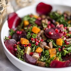 This Christmas Kale Salad recipe is one of those recipes that will not only make a festive spread even more luxurious but it's one of the healthiest tastiest salads you can offer to your loved ones. The different colours of the veggies create such a celeb