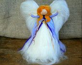 Christmas Tree Topper Angel, Made in the Waldorf tradition, Heirloom, Lavender Lilac and Gold