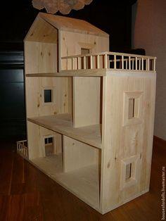 Купить Домик из мебельного щита - кукольный дом, деревянный домик, домик-стеллаж, домик для кукол