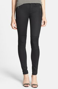 Hudson Jeans 'Stark' Moto Skinny Jeans (Black Night) available at #Nordstrom