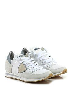 PHILIPPE MODEL PARIS - Sneakers - Donna - Sneaker in camoscio e tessuto tecnico con suola in gomma, tacco 25, platform 15 con battuta 10. - WHITE\ICE - € 230.00