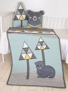 Lovely, cuddly gray plush teddy bear, I designed as a bed decoration, but can be functional as well of course. Tree pillow, made from triangle