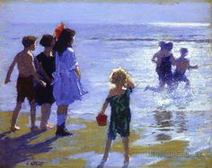 """At Low Tide,"" Edward Henry Potthast, ca. 1914, oil on board, 12 x 16"", Colby College Museum of Art."